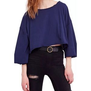 We The Free NWT Blue Ruffle Cropped T-Shirt Top M